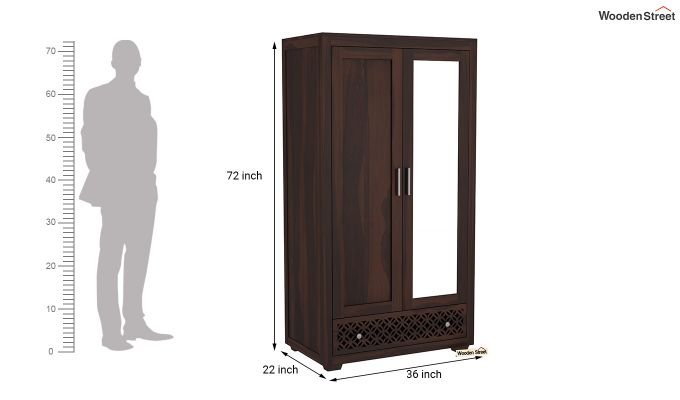 Cambrey 2 Door Wardrobe with Mirror (Walnut Finish)-6