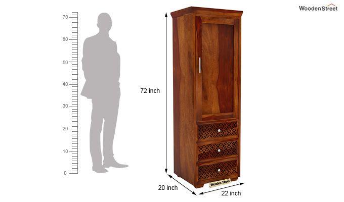 Cambrey 1 Door With 3 Drawers Wardrobe (Honey Finish)-6