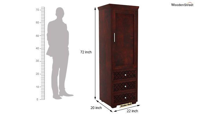 Cambrey 1 Door With 3 Drawers Wardrobe (Mahogany Finish)-5