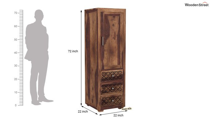 Cambrey 1 Door With 3 Drawers Wardrobe (Teak Finish)-6