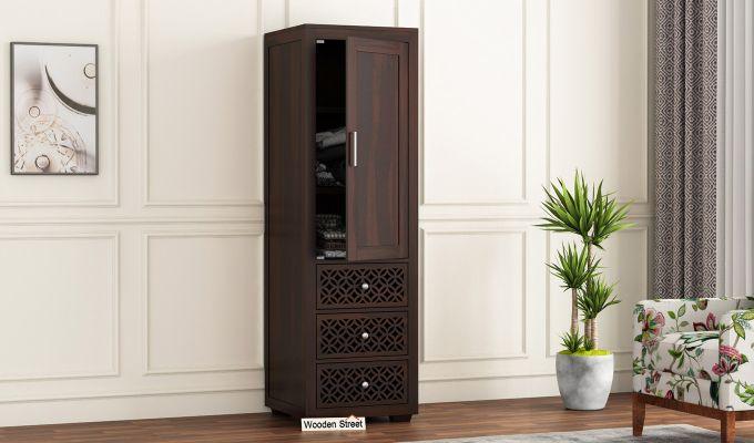 Cambrey 1 Door With 3 Drawers Wardrobe (Walnut Finish)-1