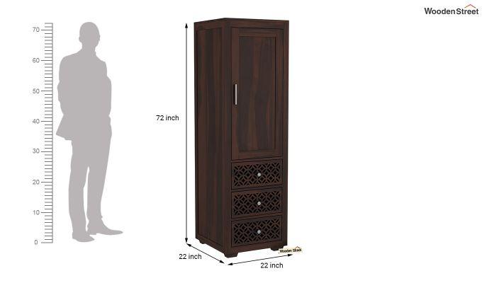 Cambrey 1 Door With 3 Drawers Wardrobe (Walnut Finish)-6