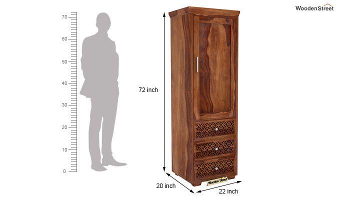 Cambrey 1 Door With 3 Drawers Wardrobe (Teak Finish)-5