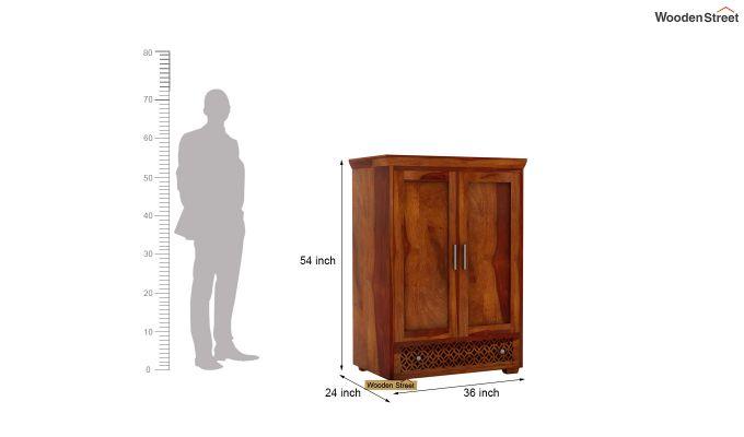 Cambrey Medium Size Wardrobe (Honey Finish)-5