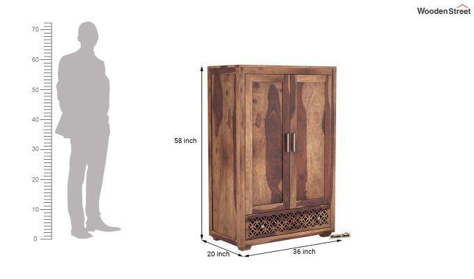 Cambrey Medium Size Wardrobe (Teak Finish)-6