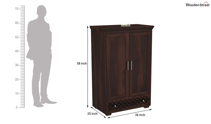 Cambrey Medium Size Wardrobe (Walnut Finish)-6