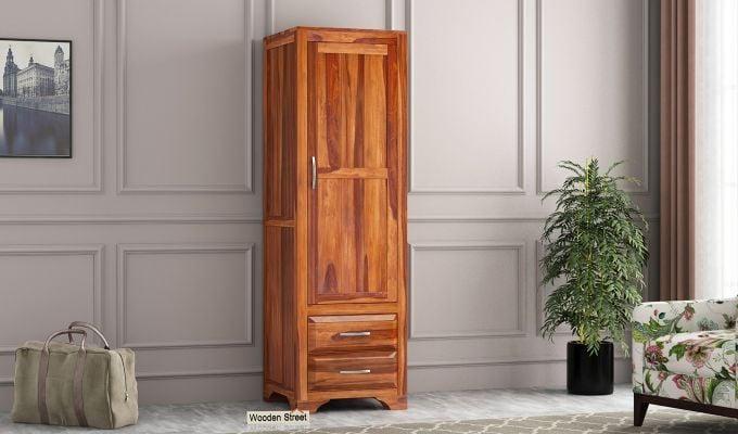 Carlton 1 Door Multi-Utility Wardrobe (Honey Finish)-1