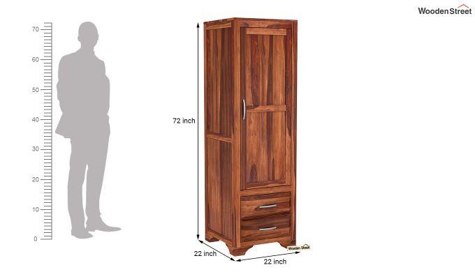 Carlton 1 Door Multi-Utility Wardrobe (Honey Finish)-6