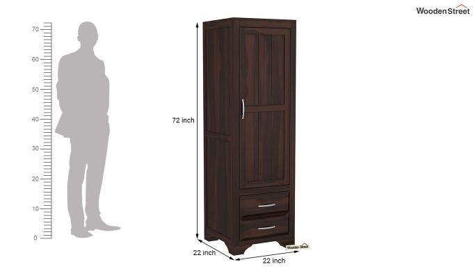 Carlton 1 Door Multi-Utility Wardrobe (Walnut Finish)-6