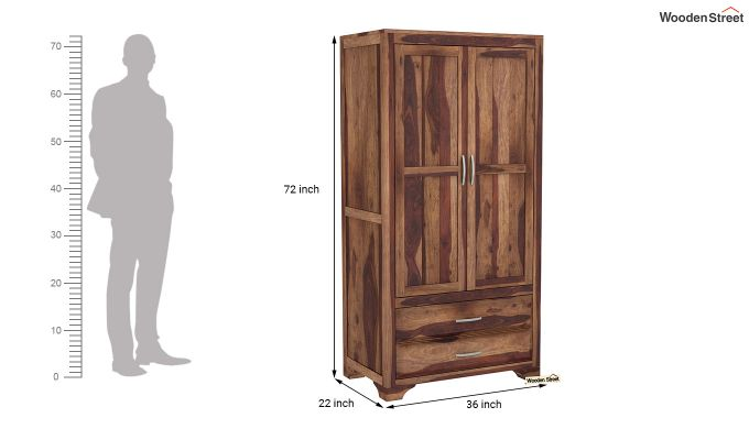 Carlton 2 Door Multi-Utility Wardrobe (Teak Finish)-6