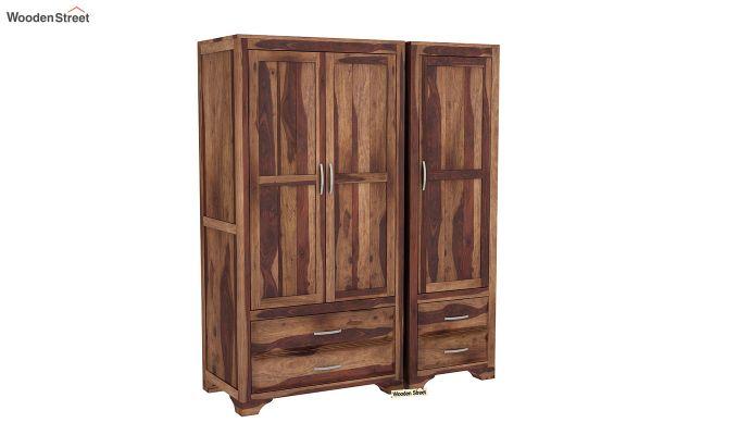 Carlton 3 Door Multi-Utility Wardrobe (Teak Finish)-2