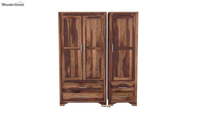 Carlton 3 Door Multi-Utility Wardrobe (Teak Finish)-3