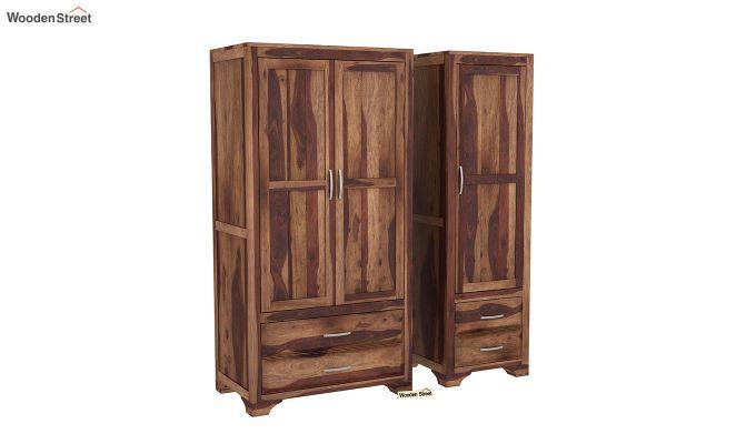 Carlton 3 Door Multi-Utility Wardrobe (Teak Finish)-4