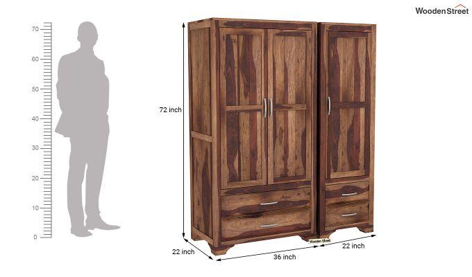 Carlton 3 Door Multi-Utility Wardrobe (Teak Finish)-8
