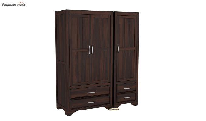 Carlton 3 Door Multi-Utility Wardrobe (Walnut Finish)-2