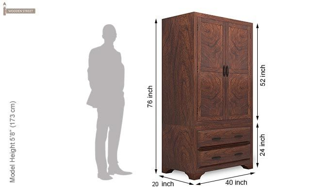 Carlton Multi-Utility Wardrobe (Walnut Finish)-6