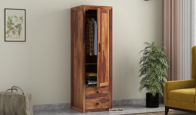 Carvel 1 Door Multi-Utility Wardrobe (Teak Finish)-1
