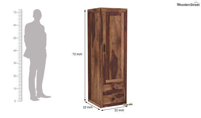 Carvel 1 Door Multi-Utility Wardrobe (Teak Finish)-6