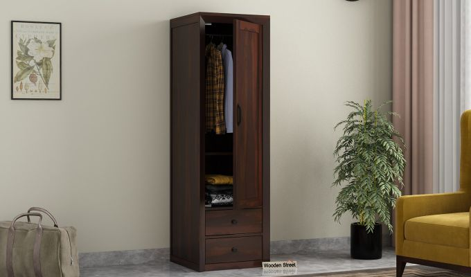Carvel 1 Door Multi-Utility Wardrobe (Walnut Finish)-1
