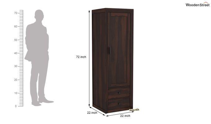 Carvel 1 Door Multi-Utility Wardrobe (Walnut Finish)-6