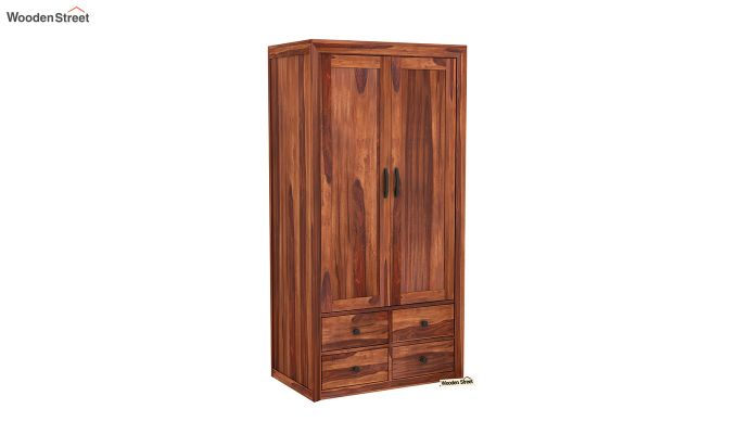 Carvel 2 Door Multi-Utility Wardrobe (Honey Finish)-2