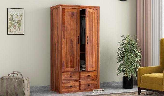 Carvel 2 Door Multi-Utility Wardrobe (Honey Finish)-1