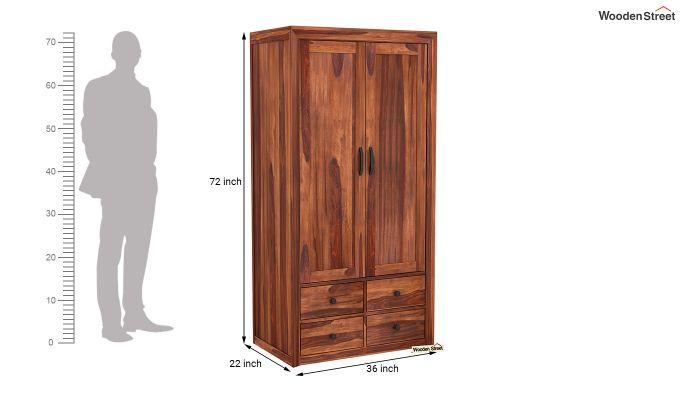 Carvel 2 Door Multi-Utility Wardrobe (Honey Finish)-6