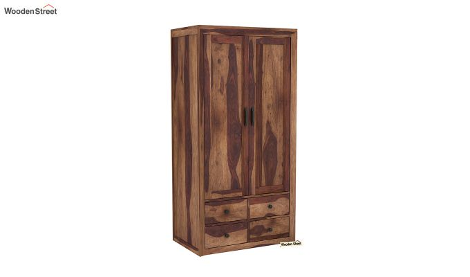 Carvel 2 Door Multi-Utility Wardrobe (Teak Finish)-2