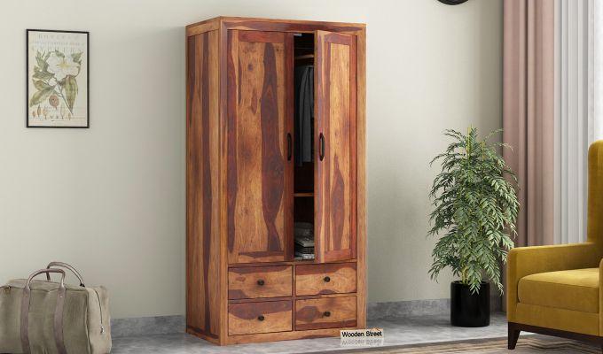 Carvel 2 Door Multi-Utility Wardrobe (Teak Finish)-1