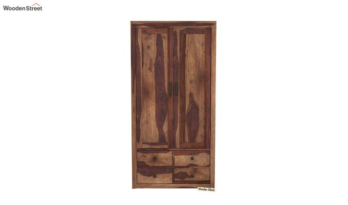 Carvel 2 Door Multi-Utility Wardrobe (Teak Finish)-3