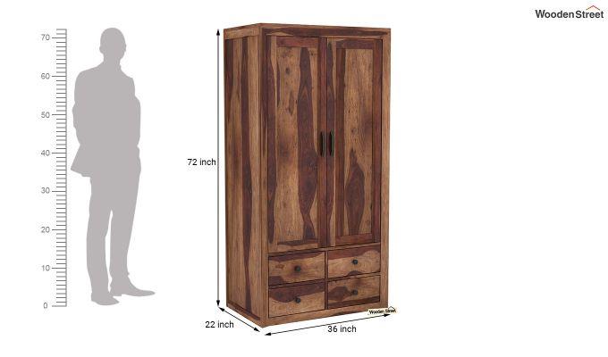 Carvel 2 Door Multi-Utility Wardrobe (Teak Finish)-6