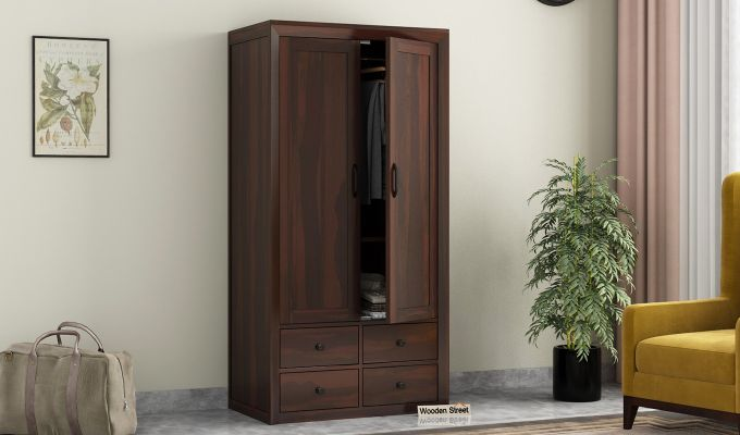 Carvel 2 Door Multi-Utility Wardrobe (Walnut Finish)-1