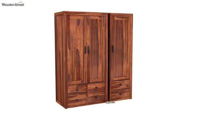 Carvel 3 Door Multi-Utility Wardrobe (Honey Finish)-2