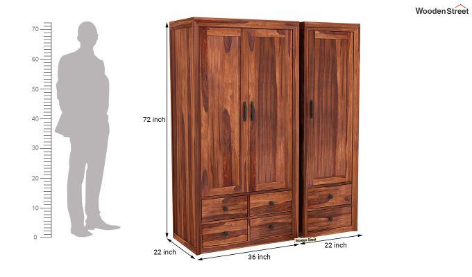 Carvel 3 Door Multi-Utility Wardrobe (Honey Finish)-8