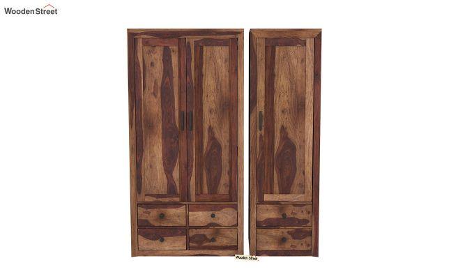 Carvel 3 Door Multi-Utility Wardrobe (Teak Finish)-3