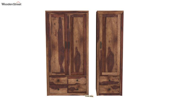 Carvel 3 Door Multi-Utility Wardrobe (Teak Finish)-5