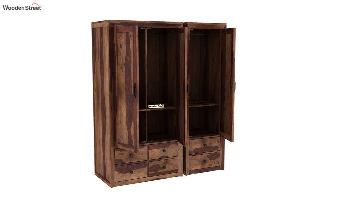 Carvel 3 Door Multi-Utility Wardrobe (Teak Finish)-6