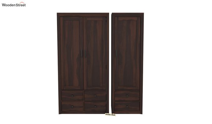 Carvel 3 Door Multi-Utility Wardrobe (Walnut Finish)-3