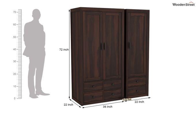 Carvel 3 Door Multi-Utility Wardrobe (Walnut Finish)-8