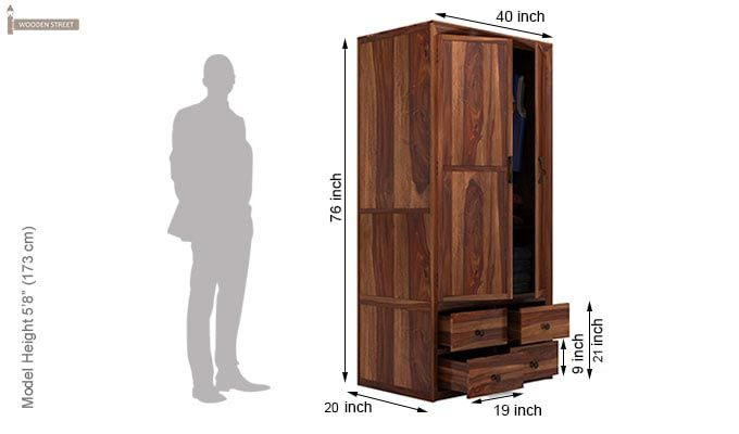 Carvel Multi-Utility Wardrobe (Teak Finish)-6