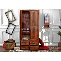 Carvel Multi-Utility Wardrobe (Teak Finish)