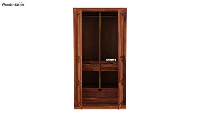 Charles 2 Door Multi Utility Wardrobe (Honey Finish)-5
