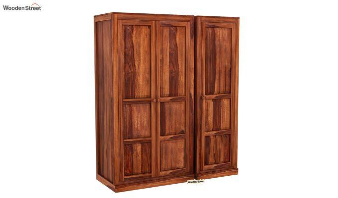 Charles 3 Door Multi Utility Wardrobe (Honey Finish)-2