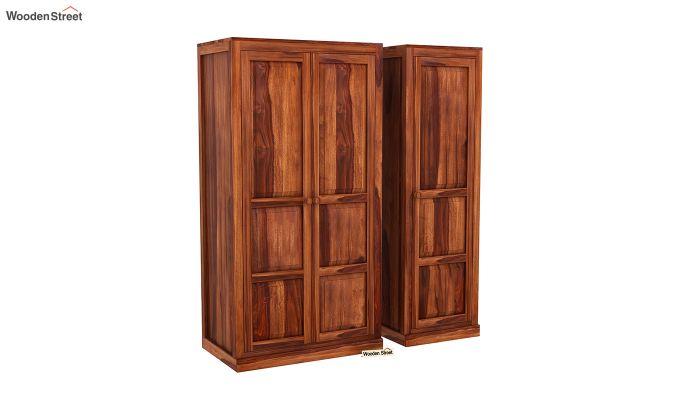 Charles 3 Door Multi Utility Wardrobe (Honey Finish)-4