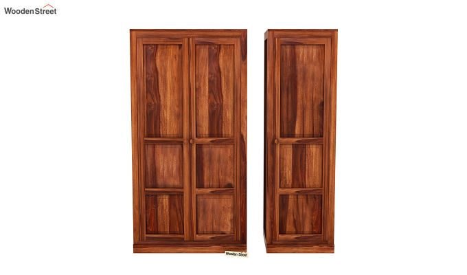 Charles 3 Door Multi Utility Wardrobe (Honey Finish)-5