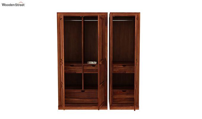 Charles 3 Door Multi Utility Wardrobe (Honey Finish)-7