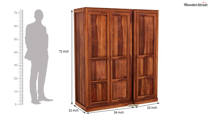 Charles 3 Door Multi Utility Wardrobe (Honey Finish)-8