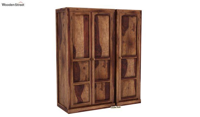 Charles 3 Door Multi Utility Wardrobe (Teak Finish)-2