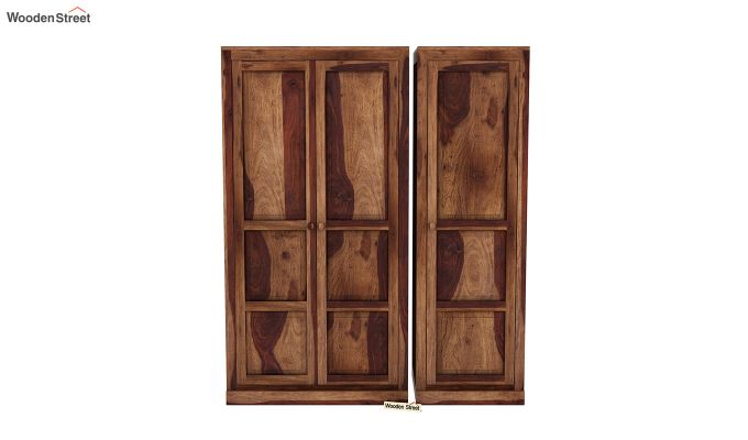 Charles 3 Door Multi Utility Wardrobe (Teak Finish)-3