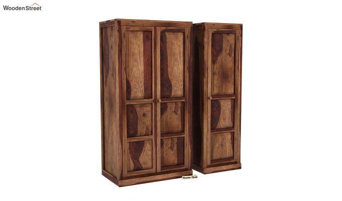 Charles 3 Door Multi Utility Wardrobe (Teak Finish)-4